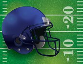 Vector American Football Helmet on Field Illustration