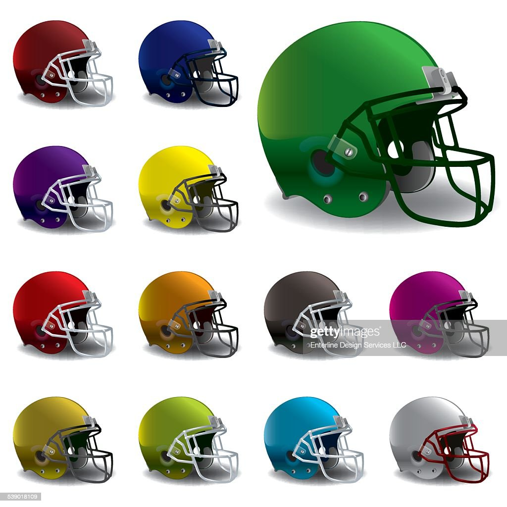 Vector American Football Helmets Illustration