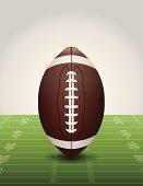 Vector American Football on Grass Field Illustration