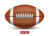 Vector American Football or Rugby ball isolated over a white background.
