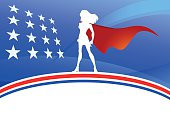 Vector American Super Woman Silhouette