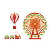 vector amusement park objects icon set