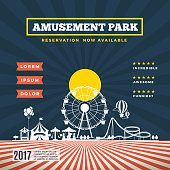Vector amusement park theme background