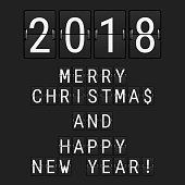 Vector Analog Flip Numbers 2018 and Flip Letters Merry Christmas and Happy New Year. Greeting Card made of Airport Flip Board Symbols