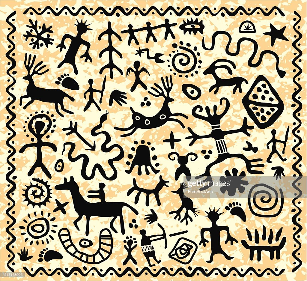 vector ancient cave petroglyphs