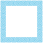 Vector Ancient Greek meander pattern frame. Editable stroke.