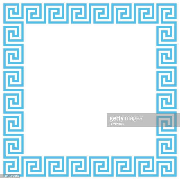 vector ancient greek meander pattern frame. editable stroke. - greece stock illustrations