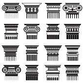 Vector ancient greek roma column capitals silhouette set.