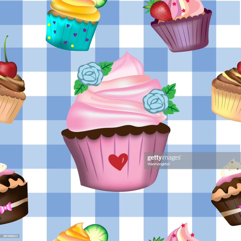 Vector and illustration hand drawing and painting cute various style decorated cupcakes in seamless pattern on blue and white pastel color tartan pattern, for bakery or dessert concept
