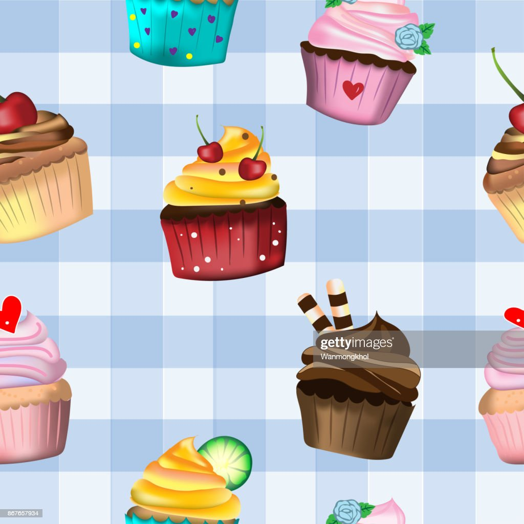 Vector and illustration of hand drawing and painting style of cute cupcakes with whipping cream decorated in seamless pattern on blue pastel color tartan, for bakery or dessert idea