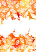 Vector and watercolor autumn invitation design with copy space