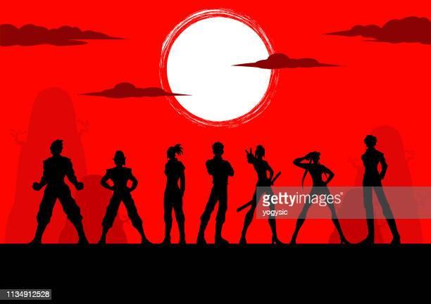 vector anime manga characters team silhouette - slim stock illustrations