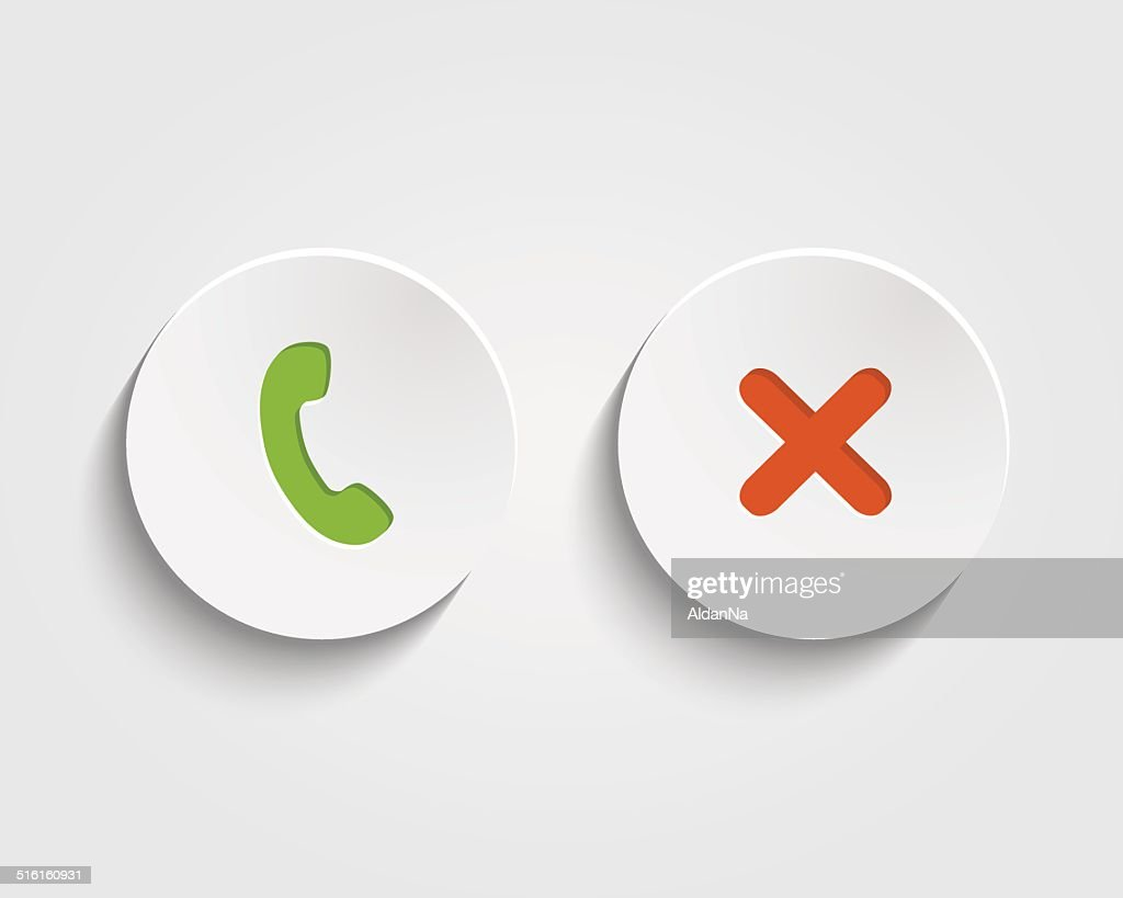 Vector answer the call, cancel  signs on buttons