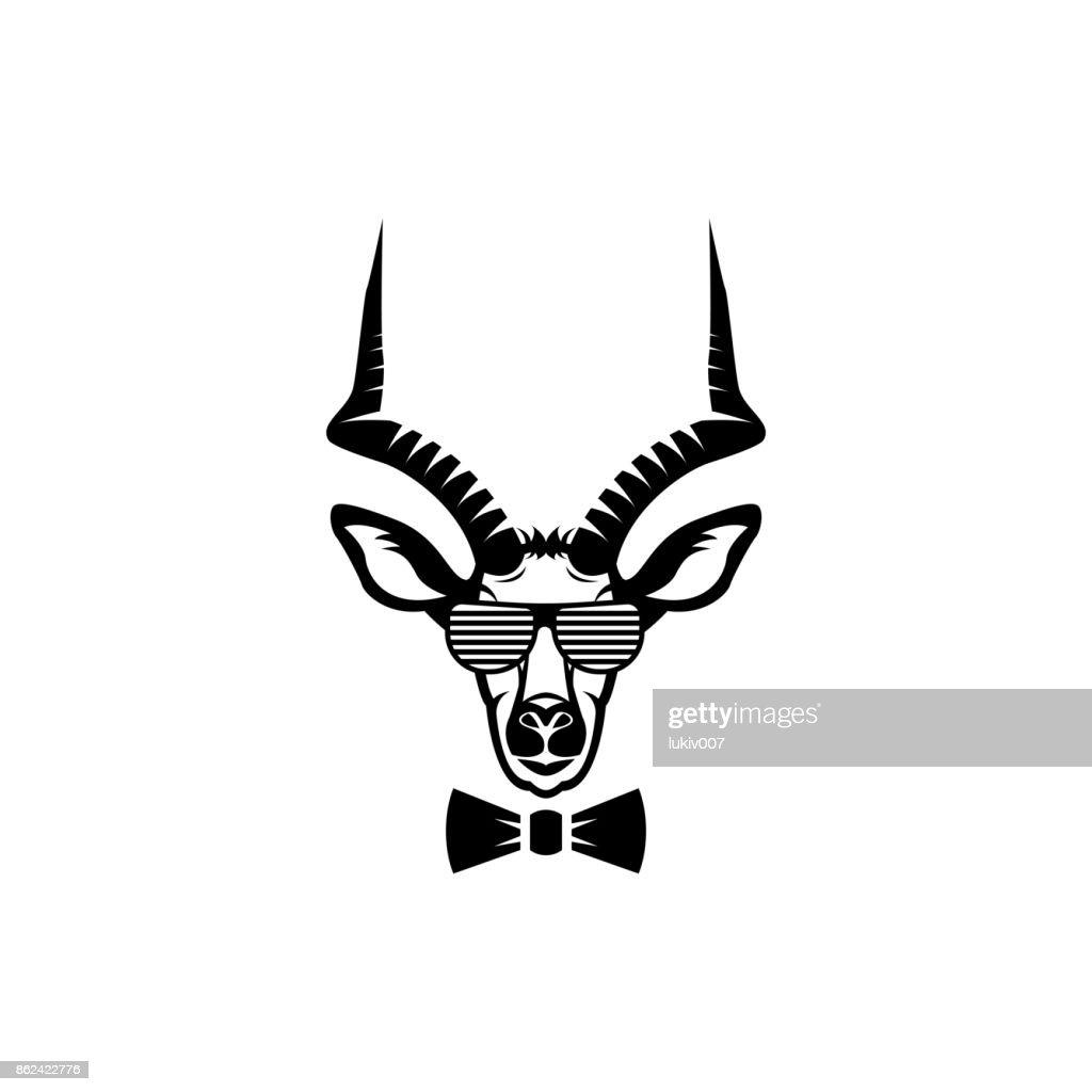 Vektor Antilope Kopf Gesicht Für Retrohipstersymbole Embleme ...