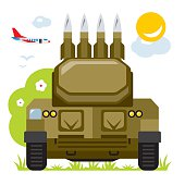 Vector Anti-aircraft missile system. Flat style colorful Cartoon illustration.