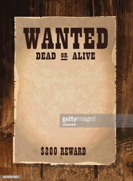 vector antique 'wanted' poster design template with copy space - desire stock illustrations