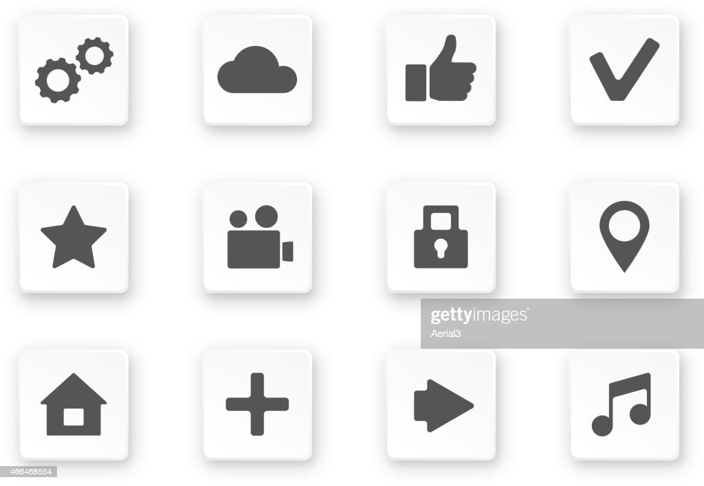 Vector apps icon set over white background.
