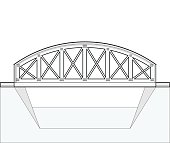 Vector arched train bridge, oulined side view, isolated, white background.