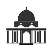 Vector architecture building symbol, historical building, black icon of simple temple