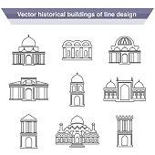 Vector architecture building symbols, historical building, black line icon of simple temple