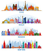 vector architecture Paris, Berlin, Moscow and New York