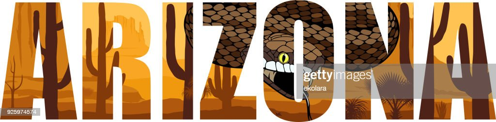 vector Arizona - American state word with  rattlesnake in desert