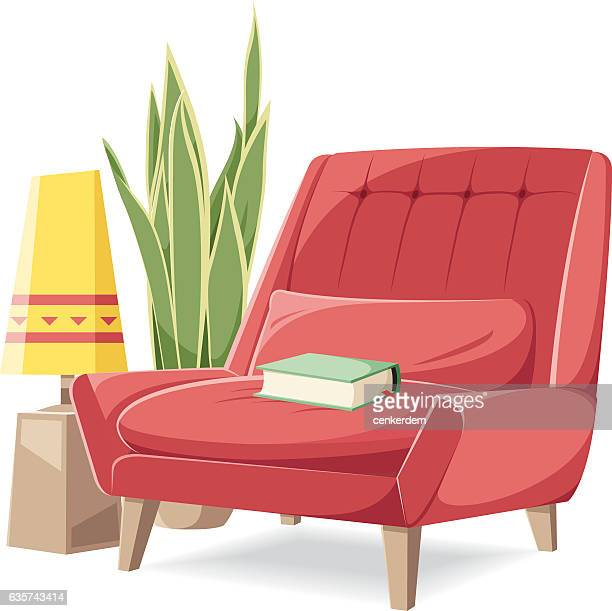 vector armchair - chaise stock illustrations, clip art, cartoons, & icons
