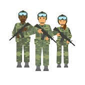 Vector arming soldiers group with weapon white background isolated