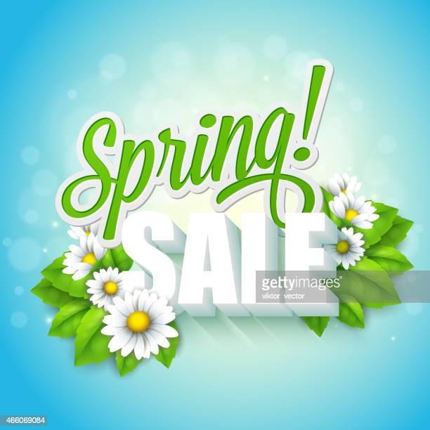 ilustraciones, imágenes clip art, dibujos animados e iconos de stock de leyenda de descuento rodeado de flores de primavera. ilustración vectorial - manzanilla