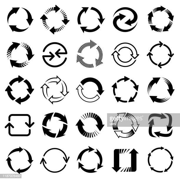 vector arrows, circular design elements - three objects stock illustrations