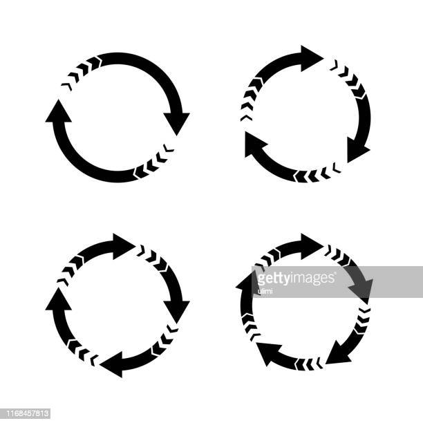 vector arrows, circular design elements - four objects stock illustrations