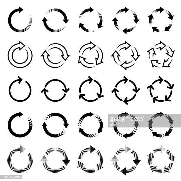 vector arrows, circular design elements - arrows circle stock illustrations