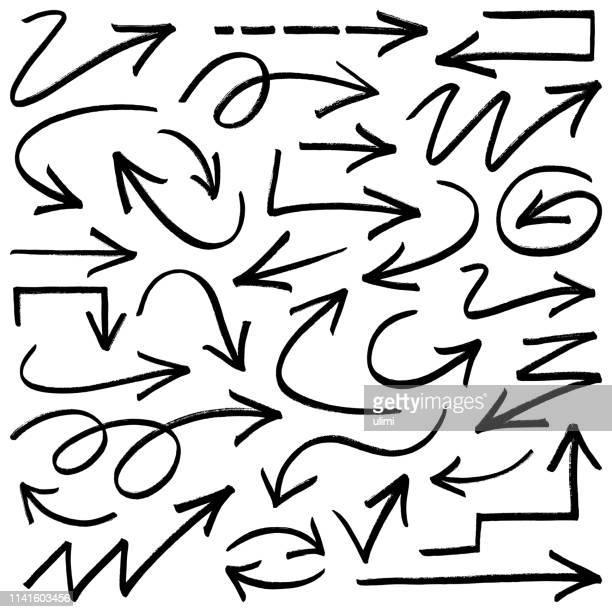 vector arrows, grunge brush strokes - drawn circle stock illustrations