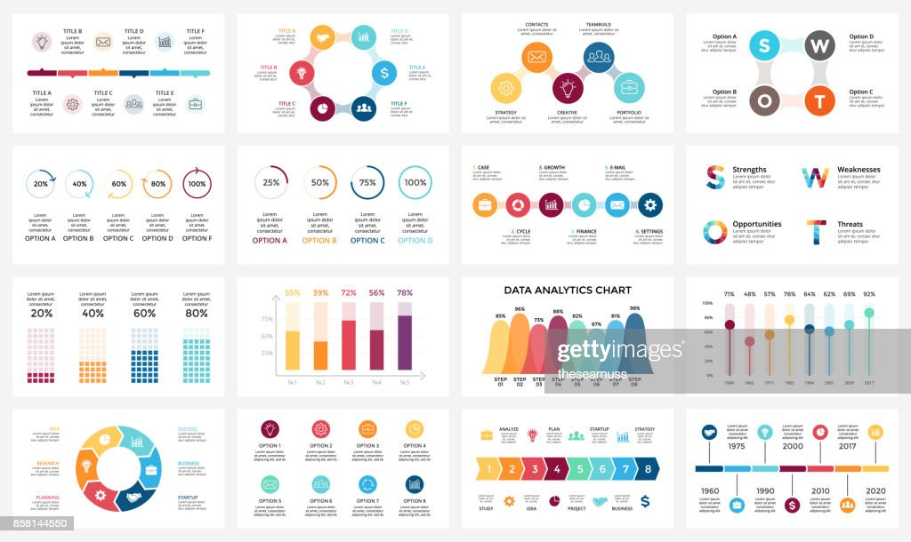 Vector arrows infographic, diagram chart, graph presentation. Business report with 3, 4, 5, 6, 7, 8 options, parts, steps, processes. Timeline. Data analytics. Percentage status. Growth success concept