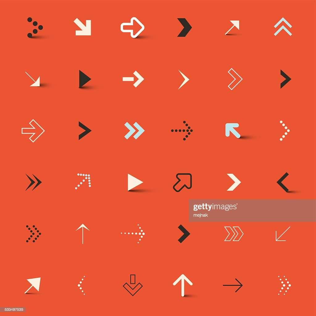 Vector Arrows Set on Red Background
