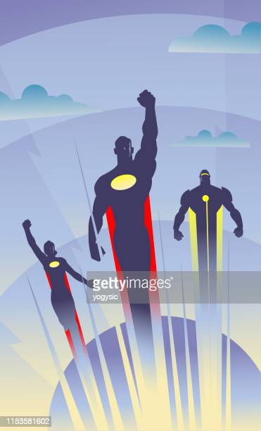 vector art deco style flying superheroes illustration - superhero stock illustrations