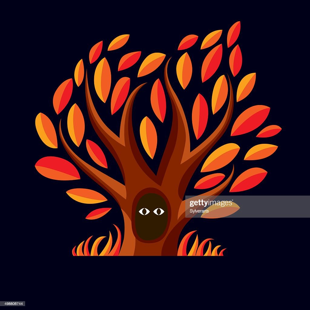 Vector art illustration of autumn tree with hollow