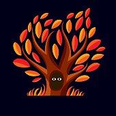 Vector art illustration of autumn tree with hollow