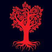 Vector art illustration of red tree with roots.