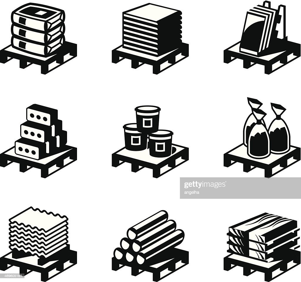 Vector art of nine construction and building material set