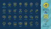 Vector artificial intelligence editable stroke thin outline icon set on a dark blue background with machine learning, smart robotic tech and network digital AI technology colorful line pictogram.