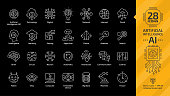 Vector artificial intelligence editable stroke thin outline white icon set on a black background with machine learning tech, smart robotic and cloud computing network digital AI technology line sign.