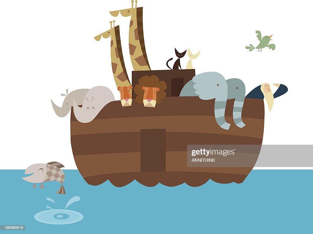 Vector artistic cartoon illustration of Noah's Ark