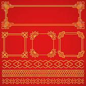 Vector asian, korean, chinese, japanese retro frames, borders set