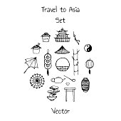 Vector asian set. Includes oriental elements contours: umbrellas, japanese lucky cats, coins, lanterns, bonsai, torii gates, noodles, traditional hat, tea pot, bamboo and yin yang symbol.