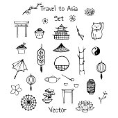 Vector asian set. Includes oriental elements: umbrellas, japanese lucky cats, coins, lanterns, bonsai, torii gates, noodles, traditional hat, tea pot, bamboo, lotus flowers and yin yang symbol.