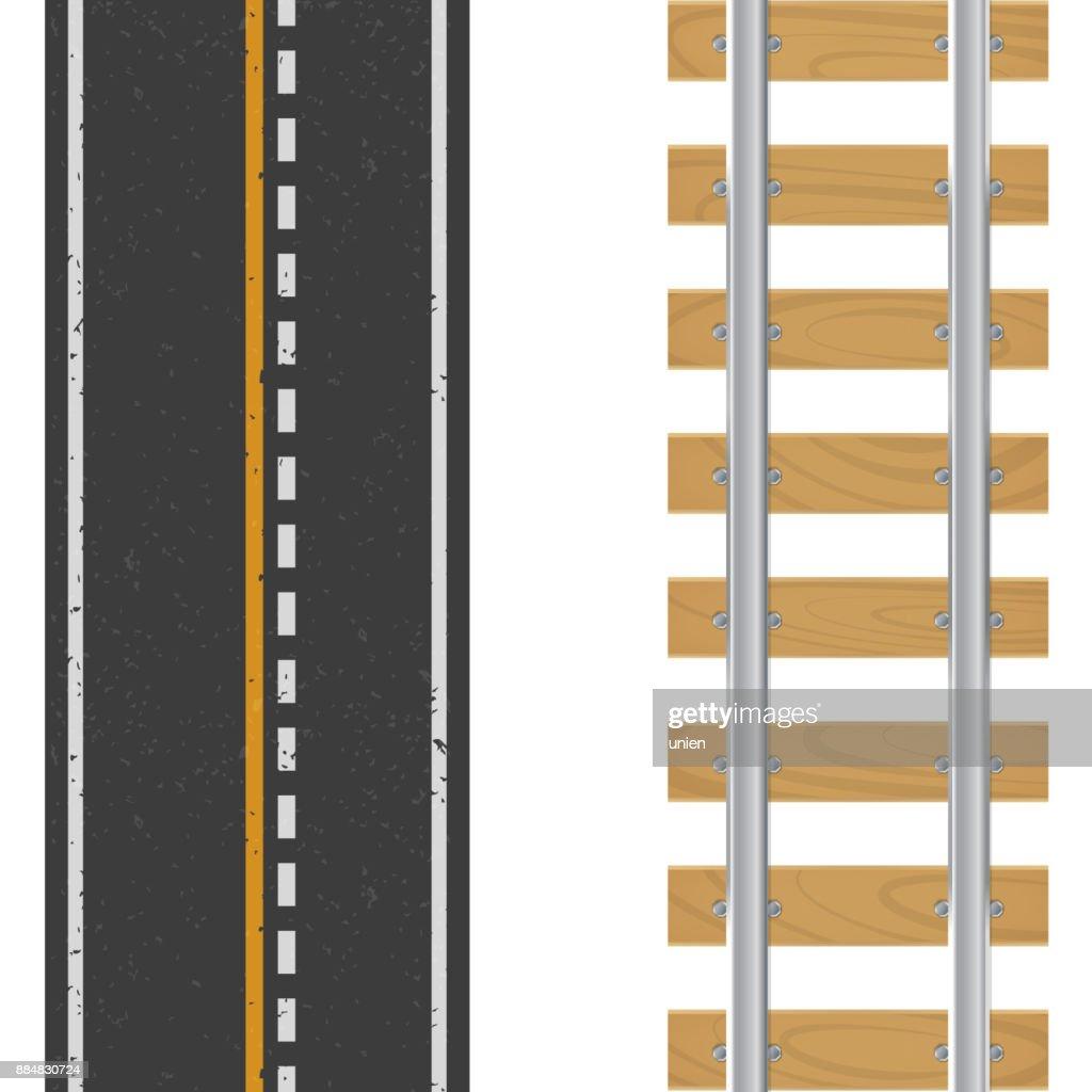 Vector Asphalt with markings and railway tracks, sleepers, wooden base.