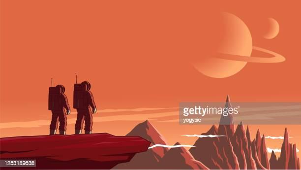 vektor-astronaut-paar auf einem unerforschten planeten stok illustration - nicht städtisches motiv stock-grafiken, -clipart, -cartoons und -symbole