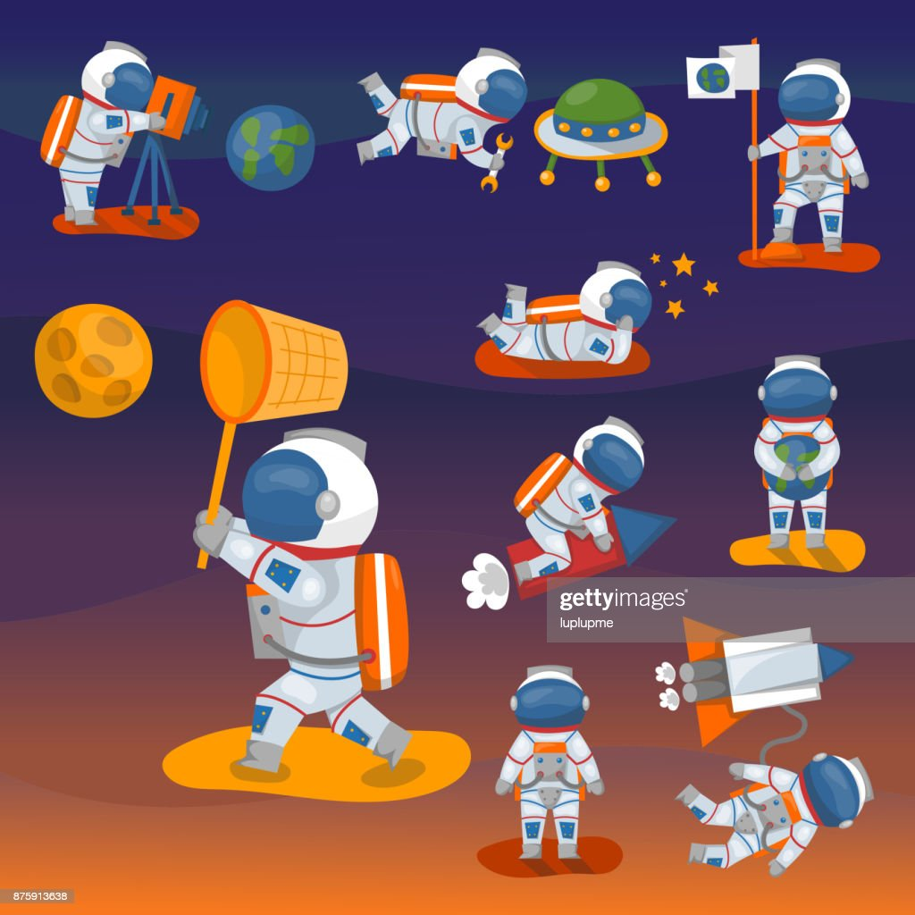 Vector astronauts in space, working character and having fun spaceman galaxy atmosphere system fantasy traveler man
