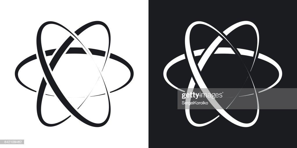 Vector atom icon. Two-tone version